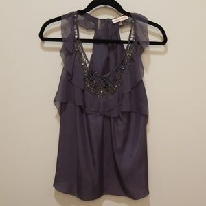 Rebecca Taylor embellished tank with ruffles